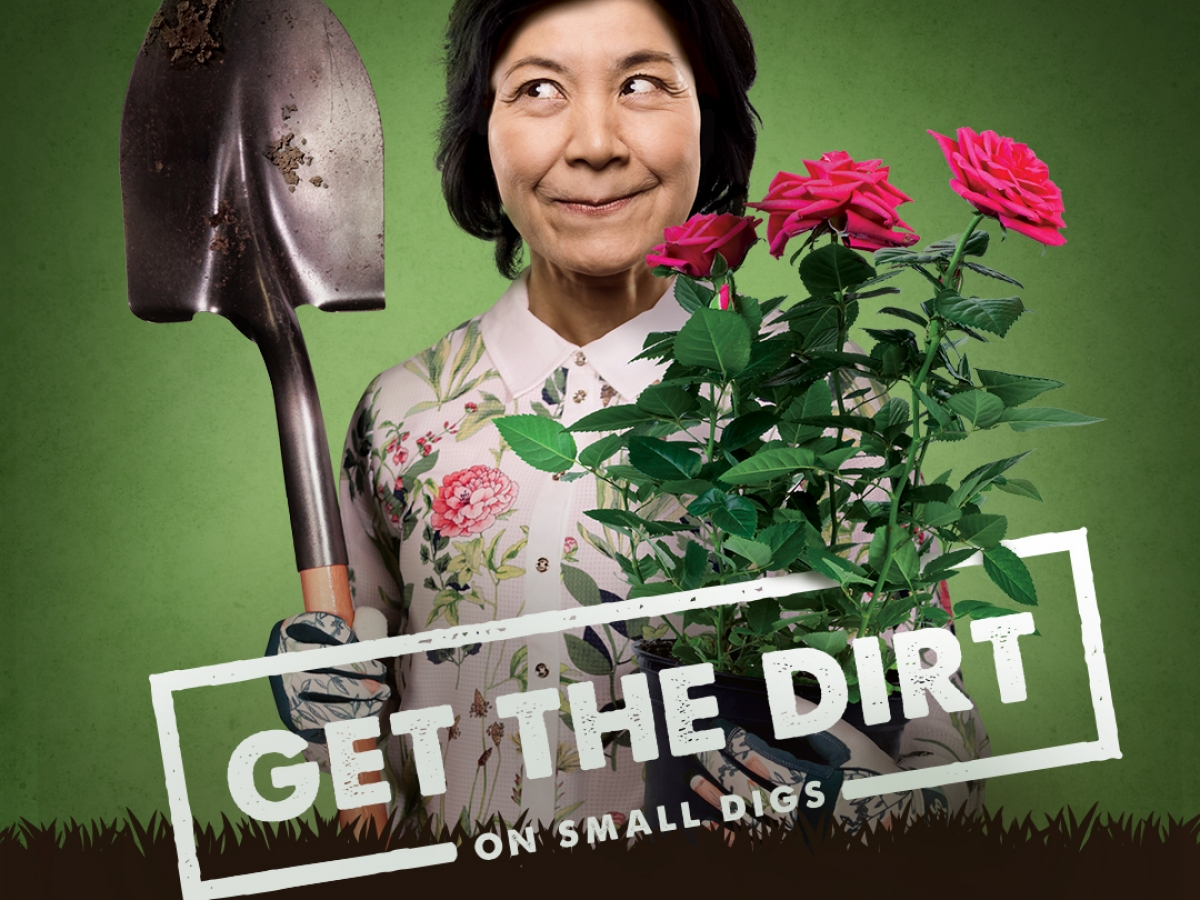 A lady holding a shovel in one hand and a rose bush in the other with a green background and black grass-like shadow along the bottom emblazoned with the words get the dirt on small digs, ontarioonecall.com 18004002255.